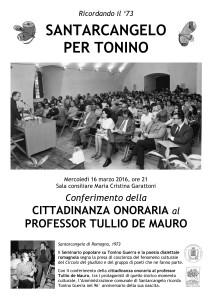 INVITO Cittadinanza onoraria de Mauro 16.3.16